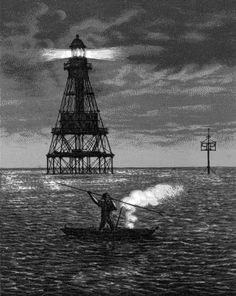 A depiction of fire fishing near the Florida Reef in Biscayne Bay. The Fowey Rocks Lighthouse is in the background. The beacon is 110 feet above the water. The iron skeleton tower is supported by 9 wrought iron piles driven into coral reef (1936). | Florida Memory