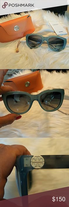 """GORGEOUS TURQUOISE TORY BURCH SUNGLASSES These  sunglasses are called """"fountain blue granite"""" on the TB website. The Arm length is 135mm. Bridge width: 29mm Lens width: 54mm. The lens color is navy gray gradient with 100% UV protection. NIB. Tory Burch Accessories Sunglasses"""