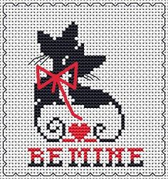 Be Mine cat card, free cross stitch pattern from Alita Designs