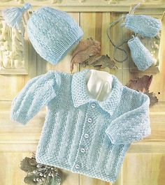 """Baby Jacket with Collar Hat & Mittens 16"""" -24"""" DK Knitting Pattern"""