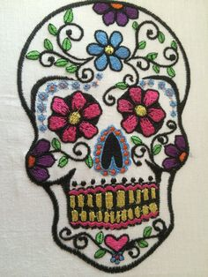 Day of the Dead Sugar Skull by BunzEmbroidery on Etsy