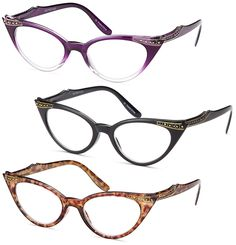 Amazon.com: GAMMA RAY READERS 3 Pairs Ladies' Vintage Cat Eye Readers Quality Reading Glasses for Women: Health & Personal Care