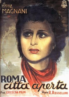Rome, Open City || Original Italian Playbill || Anna Magnani