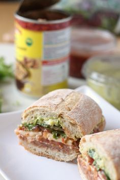 Mexican torta with Refried Beans and Guacamole