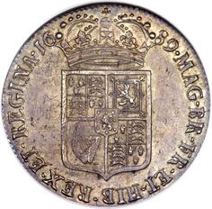 Great Britain, Great Britain: William & Mary 1/2 Crown 1689 MS62 NGC,... Image #2