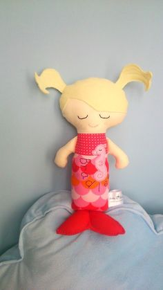 Mermaid Doll. Personalised with name, fabric custom made soft toy. Cotton CE marked plush suitable for babies, toddlers. Gift for children