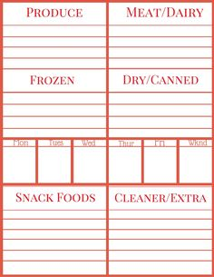 meal planning printable free printables homemaking printables