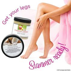 After months of being hidden under jeans and leggings, your legs might not be at their summer-ready best. To help you prep for a bit of bare-legged action, polish (exfoliate) your skin before shaving. This is great for preventing ingrown hairs and getting rid of any pesky dry patches of skin.  Once you've done the prep work, the final step in making your legs look their best is to moisturize and add a bronzed glow with our bronzing butter! www.ourlemongrassspa.com/amandas