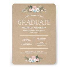 Sweet Floral   Graduation Invitation
