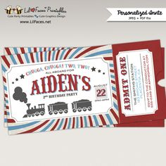 Vintage Retro Red and Blue Choo-Choo Train Birthday Party Train Ticket Invite