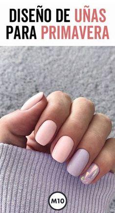Diseño de uñas para primavera que te harán lucir increíble - Diseños de uñas - Nails & Co, Gelish Nails, Nail Manicure, Diy Nails, Cute Nails, Healthy Nails, Artificial Nails, Simple Nails, Nailart