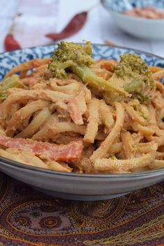 Healthy veg Pasta in spicy Peanut Sauce