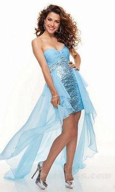 Strapless pale blue silver dress with high to low skirt sweetheart neckline  from Paparazzi By Mori Lee (Style  5af349d86d9c