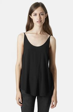 Topshop Textured Crepe V-Back Tank available at #Nordstrom