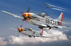 """""""Little Friends""""--- American Aces """"Bud"""" Anderson in """"Old Crow"""" and Chuck Yeager in """"Glamorous Glen III"""""""