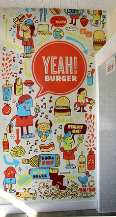 Yeah! Burger interior graphic by tad carpenter, via Flickr