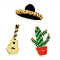Enamel Pin Set of 3, Fashion and Elegant as a Cowboy Life, Cactus, Mexican Hat, Classical Guitar, Cute & Funky Enamel Pins Set of 3 Brooch. by LoVEandWe on Etsy
