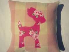 UPCYCLED PINK VINTAGE WOOL BLANKET WITH BABY DEER APPLIQUE felt.co.nz