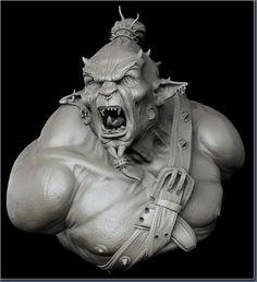 Nicolas Collings, Orc Maori, character creation, zbrush, 3ds max, sculpture, fantasy, monster, orc