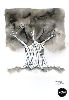 #INKtober day 9 Old tree  Original artwork ink on watercolor paper by movezerb