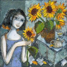 Lady in blue dress, looking at flowers, bright yellow sunflowers sitting on table, original oil painting on canvas