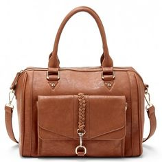 Women's Brown Vegan Leather Vegan Satchel With Braided Detail | Bryer by Sole Society
