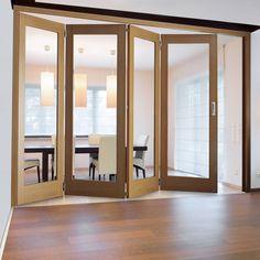 Easi-Slide OP1 Oak Emilia Sliding Door System with Clear Glass in ...