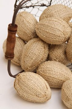 Burlap Eggs One Dozen In Natural Burlap Bowl or by FourRDesigns
