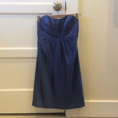 Alfred Angelo strapless dress Satin blue color strapless dress. Approx 29 inches long from top to bottom of dress. Back zipper. Alfred Angelo Dresses Strapless
