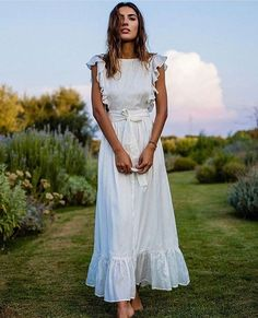 Patricia Manfield wears a white dress - Women Dresses Trendy Dresses, Casual Dresses, Dress Outfits, White Dress Outfit, Simple White Dress, White Wrap Dress, White Ruffle Dress, Ruffle Sleeve Dress, Frill Dress