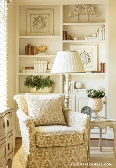 Cozy reading nook in traditional Living Room, via @sarahsarna.
