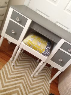 Grey and yellow desk redo. Love these colors and patchwork cushion I made using scraps.