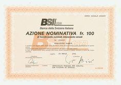 HWPH AG - Historische Wertpapiere - Banca della Svizzera Italiana / Lugano, 28.03.1991, Azione Nominativa über 100 Schweizer Franken