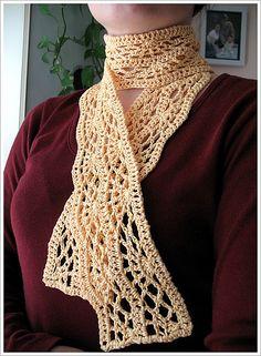 Crocus Scarf.  Free crochet pattern on ravelry.