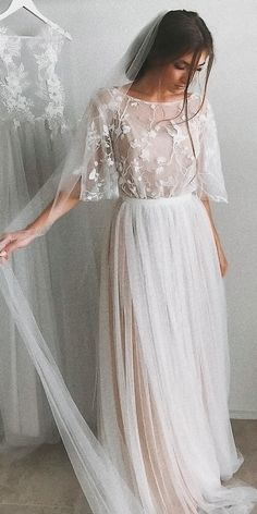 Half Sleeve Wedding Dresses Aline Short Train Elegant Simple Romantic Lace Bridal Gown is part of Wedding dress flowy inch Please select the corresponding color name in the color link, we wil - Boho Wedding Dress With Sleeves, Dream Wedding Dresses, Boho Dress, Bridal Dresses, Lace Dress, Dresses Dresses, Casual Dresses, Dress Long, Dresses Online