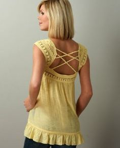Theory Crochet Top in Yellow