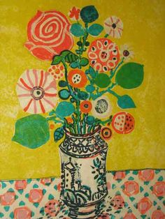 Paul Aizpiri (French 1919 - ) Lithograph Flowers in A Vase  #flower #painting