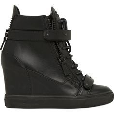 GIUSEPPE ZANOTTI 90mm Zip Leather Wedged Sneakers ($696) ❤ liked on Polyvore featuring shoes, sneakers, giuseppe zanotti, wedges, black, leather high top sneakers, black shoes, leather wedge sneakers, wedge heel sneakers and black hi top sneakers