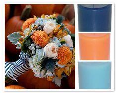 Navy * Sky * Cantaloupe - awesome wedding colorscheme! #weddingcandles #weddingcolors BarnLoftCandles.com