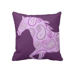 Cute purple equestrian horse throw pillow for a little girls bedroom! Great for the horse lover girl.