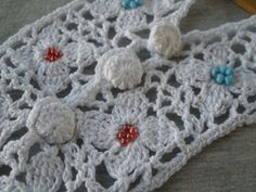 """Crochet Cotton Beaded Floral Neckline Applique white cover buttons Embellish dress T-shirt 9""""L x 4""""W Boho Festival Coachella red blue beads by kabooco on Etsy"""