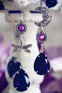 Moon Flight Asymmetrical Earrings - Jessica Galbreth The Vintage Angel