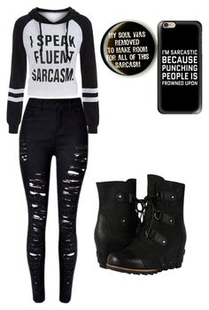 """Sarcasm"" by secondaryterror ❤ liked on Polyvore featuring Hot Topic, Casetify and SOREL"