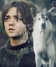 Arya Stark w/ Nymeria (her direwolve) - played by Maisie Williams