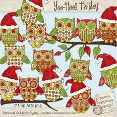 Yoo-Hoo Holiday! Christmas Owl Digital clip art :: Clipart and Graphics :: Aimee Asher Boutique