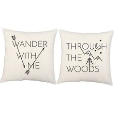 Free Shipping. Buy Set of 2 Wander With Me Through the Woods Throw Pillows 16x16 Inch Square White Indoor-Outdoor Cushions, One pair of RoomCraft Wander With Me.., By RoomCraft at Walmart.com
