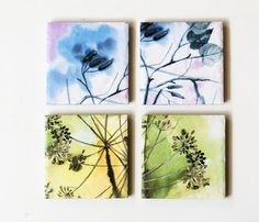 Ceramic coasters Dreamy Watercolors Pastels set of 4 by Tilissimo, $20.00