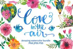 Love in the air - watercolor bundle example image