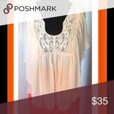Chiffon Top Cream with lace an flutter sleeves ...adorable top by Victoria Secret ...there is elastic on the back...NWOT....never been wore..... Victoria's Secret Tops Blouses