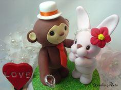 Custom Monkey & Bunny Love Wedding Cake Topper